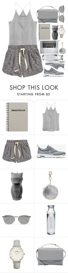 """""""Everygray"""" by marbiotic ❤ liked on Polyvore featuring H&M, NIKE, PyroPet, Linda Farrow, CLUSE and Eddie Borgo"""