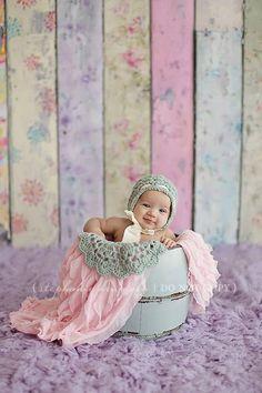 Sweet Baby Pink Ruffle Layering Mini Blanket for Newborn Photography