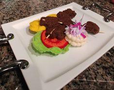 Anticuchos-Peruvian meat skewers dish by on Etsy Meat Skewers, Felt Food, Play Food, Handmade Felt, Food Dishes, Meals, Desserts, Etsy, Gourmet