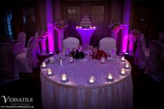 Pink and purple uplighting was the perfect choice for the Versailles Ballroom bride and groom! We have a wide variety of color options, and we know you will find the perfect match to go with your decor! www.VersaillesCaterers.com. Photo courtesy of Versatile Event Designs. #NJWeddings #WeddingsNearTomsRiver #VersaillesBallroom #WeddingsNearJerseyShore #Bride #Groom #Weddings #CentralNJWeddingVenue #NJWeddingVenue #WeddingPhotography #NJBanquetHall #NJWeddingVenue #Ramada #JerseyShoreWeddings