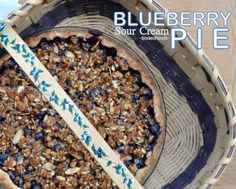 Blueberry Sour Cream Pie, my longtime favorite recipe for blueberry pie, fabulous with fresh blueberries that 'pop' in the light sour cream filling and topped with a toasted-almond streusel. © Kitchen Parade.
