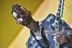 Placebo bassist Stefan Olsdal performs during a concert as part of Placebo '20 Years' world tour at the Olimpiyskiy Sports Complex on October 26, 2016 in Moscow, Russia.