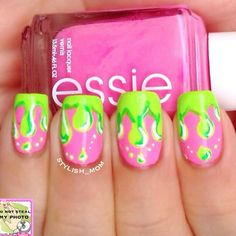 Neon Pink and Lime Green Nails With Dripping Paint Nail Art