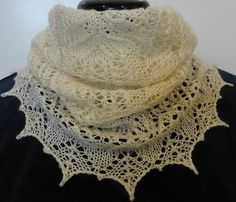 Frosted Swirls Lace Knit Cowl in Creamy Silk and by NeedlesnPurls