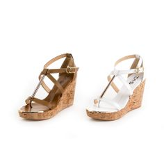 0-2786  TAS 韓系時尚 金屬拼接交叉繫帶楔型涼鞋-清新白 - Yahoo!奇摩購物中心