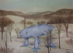 Spice up a dull landscape painting from a yard sale by adding a monster...LOVE THIS!!!