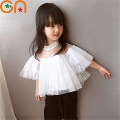 4c833bd38463 Girl white Tops Baby Tulle lace Half shirt Fashion princess clothing kids  Solid Wild T-