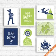 Peter Pan Neverland Quotes and Map C  Set of 7 by PeterPanPrints