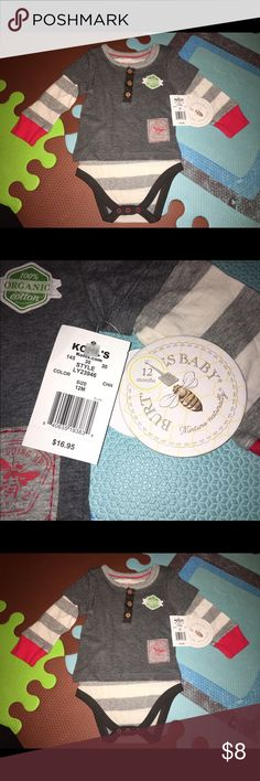 NWT Burt's Bees Baby layered onesie 12 months NWT Burt's Bees Baby layered onesie 12 months. Organic. From a smoke free and pet free home. NEW! Burt's Bees Baby One Pieces Bodysuits