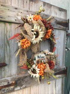 Fall wreath Autumn wreath front door wreath fall decor | Etsy Front Door Decor, Wreaths For Front Door, Door Wreaths, Autumn Wreaths, Wreath Fall, Farmhouse Fall Wreath, Wooden Welcome Signs, Grape Vines, Fall Decor
