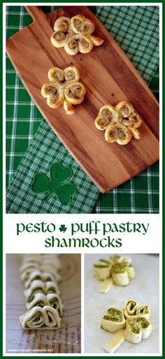 Pesto Puff Pastry Shamrocks! A three-ingredient appetizer for St. Patrick's Day | homeiswheretheboatis.net