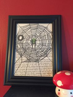 gifts for weirdos/gifts for goth/decor for spider lovers/arachnid/spider/web/decor/book page by TheNiftyNookCo on Etsy