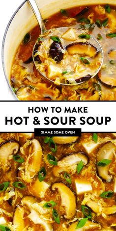 This classic Chinese Hot and Sour Soup recipe is easy to make in about 25 minutes, and tastes even better than the restaurant version! Easy Soup Recipes, Healthy Dinner Recipes, Cooking Recipes, Healthy Soups, Eating Healthy, Chinese Soup Recipes, Chicken Recipes, Vegetarian Asian Recipes, Crockpot Recipes