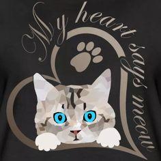 SpreadCats | Mein Herz sagt miau Katze Kätzchen Geschenk - Frauen Premium T-Shirt.Süßes Baby Kätzchen, Katze guckt raus. Schönes Design für Katzenbesitzer, Katzen Freunde und Katzen Liebhaber. Schreib etwas dazu und erzeuge so ein persönliches Geschenk. Mein Herz sagt miau. #katze #Kätzchen #katzenliebhaber #cat #cute Vintage T-shirts, Sonic The Hedgehog, Sayings, Fictional Characters, Decor, Gifts For Cats, Baby Kitty, Nice Designs, Iphone Case Covers