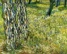 Tree Trunks in the Grass, 1890 ~ Vincent van Gogh