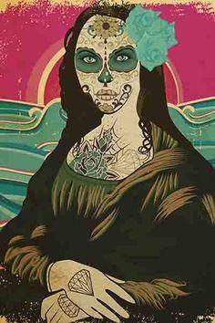 """""""Sugar Skull Monalisa"""", criação de Russ."""