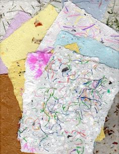 Handmade paper add string and thread to paper pulp