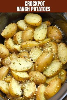 Slow Cooker Potatoes with Ranch seasoning are easy to make in the crockpot with . - Slow Cooker Potatoes with Ranch seasoning are easy to make in the crockpot with minimal prep and si - Slow Cooker Potatoes, Crock Pot Potatoes, Crock Pot Slow Cooker, Ranch Potatoes, Crock Pots, Potato Recipes Crockpot, Crockpot Dishes, Crockpot Meals, Crockpot Veggies