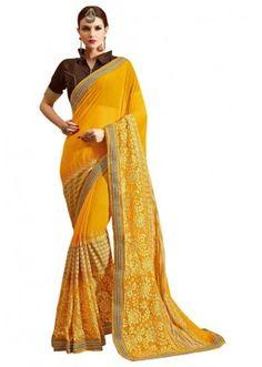 Ethnic Wear Yellow & Brown Georgette Saree  - MARBELLA8304
