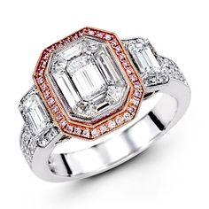 Mosaic Collection - This brilliant 18K white and rose ring features a 1.0ctw center mosaic of white Diamond, .28ctw round white Diamonds, .11ctw round pink Diamonds, and .49ctw emerald cut white Diamonds.   - LP1996