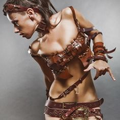 Leather Steampunk Costume SEXY BROWN BRA Couture by FamilySkiners
