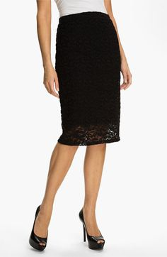 Classic black pencil skirt with lace