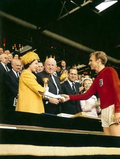 The Queen presenting the World Cup to Bobby Moore: 1966