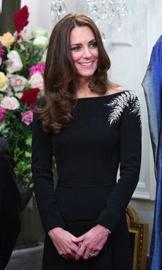Kate's custom Jenny Packham evening dress had fern detailing -- a nod to New Zealand -- for the state reception at Government House on day 4 of the tour.Wearing: Bespoke Jenny Packham