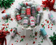 5- Pack Holiday Confetti Poppers / Christmas / Seasonal Push Pop /