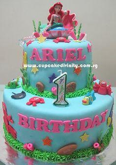 Cupcake Divinity.. Cupcakes fit for divines!: 2 tier Ariel fondant cake - TW