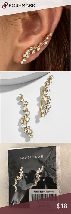 Baublebar Crawler Earrings Brand New In Package BaubleBar Jewelry Earrings Fab Fit Fun Box, Ear Crawler Earrings, Cute Ear Piercings, Women Jewelry, Fashion Design, Fashion Tips, Tunic Sweater, Gold Plating, Crystals