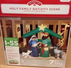 HOLY FAMILY NATIVITY MANGER JESUS JOSEPH MARY Airblown Inflatable Yard Decor