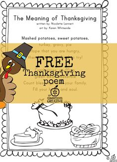 Work on fluency and Thanksgiving vocabulary with free thanksgiving poem! Plus, it ends with the real meaning of the season...love with our families!  #thanksgivingforkids #firstgrade #kindergarten #poem