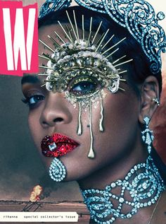 Rihanna Graces The Cover Of 'W' Magazine. Rihanna slays again with her latest W Magazine cover. Donning some highly sought after Cartier bling — and some Rihanna E, Rihanna Cover, Rihanna Crown, Rihanna Nails, Rihanna Baby, Rihanna Style, Makeup Inspo, Makeup Inspiration, Makeup Trends