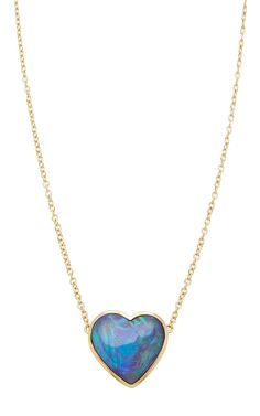 One Of A Kind White Heart Opal Necklace by Katherine Jetter for Preorder on Moda Operandi