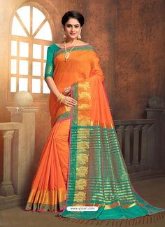 Designer Cotton Silk Saree In Orange Colour Work Sarees, Indian Beauty Saree, Party Wear Sarees, Indian Ethnic Wear, Orange Color, Colour, Cotton Silk, Outfits For Teens, Sari