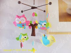 Items similar to Ceiling Hanging Mobile: Bright Colors Owls and Bird in Tree Top Theme. Brown Hot Pink Lime Green Ocean Yellow on Etsy Owl Mobile, Baby Crib Mobile, Green Ocean, Ceiling Hanging, Hanging Mobile, Tree Tops, Pottery Barn Kids, Color Themes, Cribs