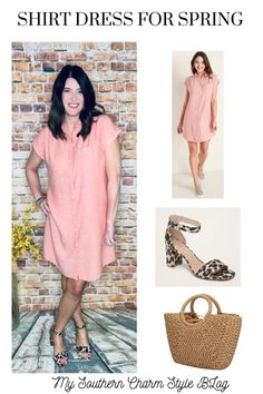 This shirt dress is an easy piece to style so many different ways! Spring Fashion Trends, Spring Summer Fashion, Spring Outfits, Spring Style, Denim Jacket With Dress, Fashion For Women Over 40, Everyday Dresses, Shirtdress, Modest Dresses