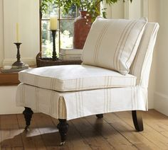 Kendall Slipcovered Slipper Chair, Down Blend, Washed Linen Cotton Seagrass