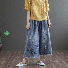 Item Type: Pants Material: Cotton, Linen Neckline: Regular Collar Occasion: Daily, Date Time Style: Casual, Daily Theme: Spring, Summer Size: One Size Length: Hip: Waist: Thigh: Wide Leg Denim, Wide Leg Pants, Blue Denim, Denim Pants, How To Look Better, Thighs, Pants For Women, Retro, Lady