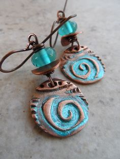 Love Swirls ... Colorful Copper Charms Lampwork and by juliethelen