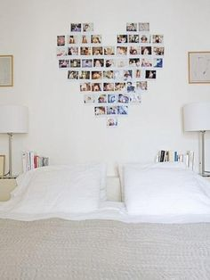 cute idea: collage polaroids (or photos) in a heart shape above your bed