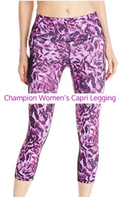 Champion Women's Capri Legging ~ Has a back zip pocket, side stash mesh pocket, and inner key pocket for storage.