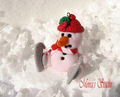 Christmas Snowman Skating  Christmas figurine  by MoirasStudio