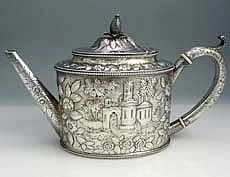 S Kirk 11 Ounce Teapot with Landscape Chasing