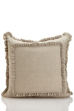 Vintage Washed Linen Bedding Double Baby Ruffle Decorative Pillow - Natural on HauteLook
