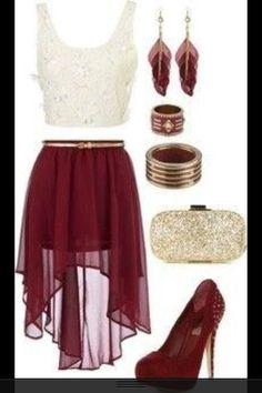Red dress cream top fashion