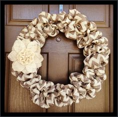 This is the most adorable wreath ever!  Chevron burlap wrapped around wreath frame with a burlap flower as an accent.  Want to make it now!