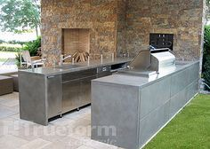 concrete countertop outdoor kitchen by Trueform, via Flickr