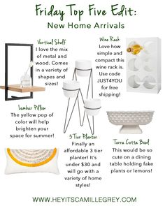 Friday Top Five Edit: New Home Arrivals | Hey Its Camille Grey #wallshelf #planter #throwpillow #terracottabowl #winerack